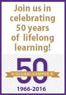 Global Campus 50th Anniversary Vertical Banner