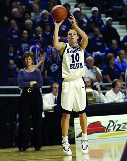 Koehn shooting a basket
